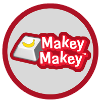 MakeyMaley logo computer button in white, red and yellow