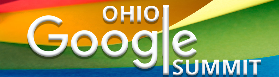 white text ohio google summit with rainbow background