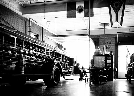 Black and White Image of the Interior of Fire Station