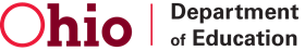 ohio department of education text with black and red logo