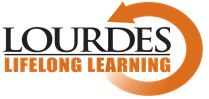 Lifelong Learning Lourdes white background and orange text